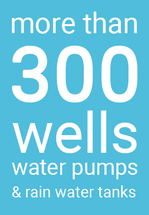 More than 300 wells, water pumps and rain water tanks